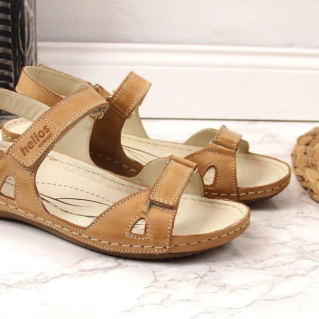 Sandały damskie skórzane komfortowe brązowe Helios 205