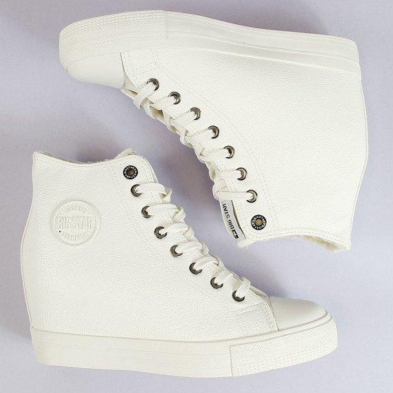 Sneakersy na koturnie ocieplane białe Big Star BB274304