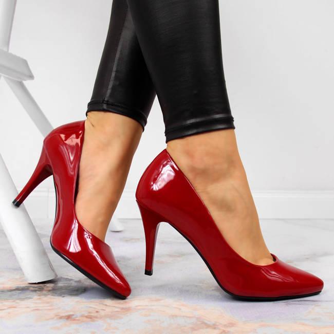 Czółenka na szpilce lakierowane czerwone Sergio Leone