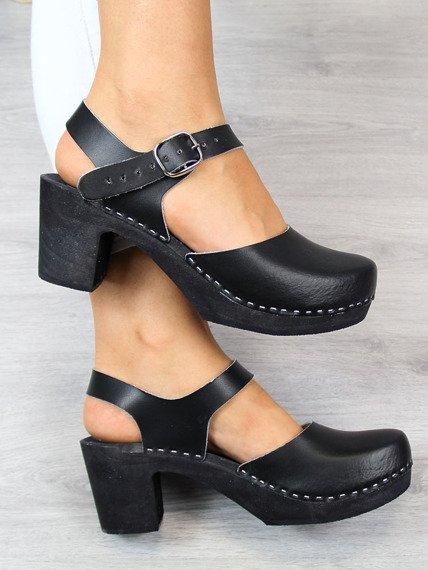 Czarne sandały chodaki drewniaki skórzane Marcus