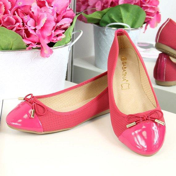 Baleriny damskie ażurowe różowe Sabatina