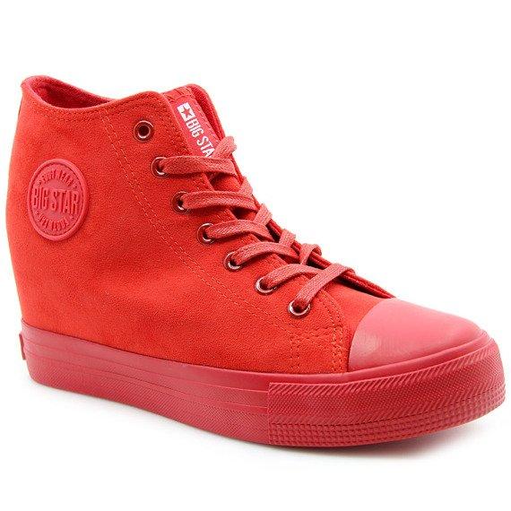 Sneakersy damskie na koturnie czerwone Big Star BB274088