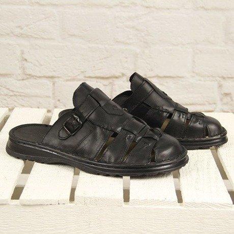 c30da4a8b22e1 Czarne skórzane klapki męskie lekkie komfortowe Łukbut 962