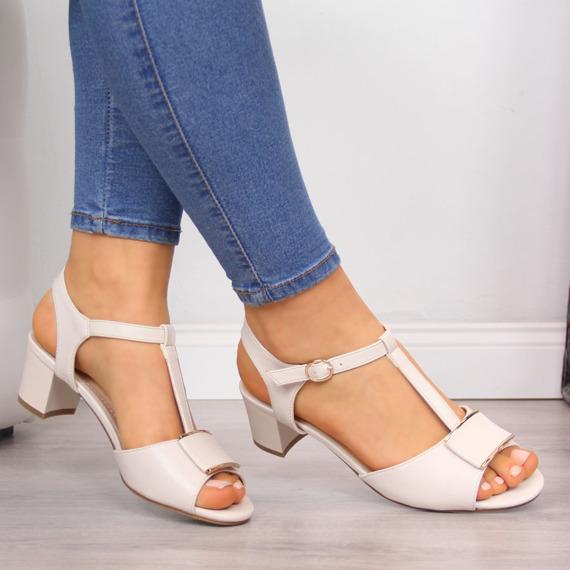 Beżowe sandały na słupku Sergio Leone
