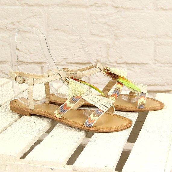 Beżowe sandały płaskie boho Ideal Shoes