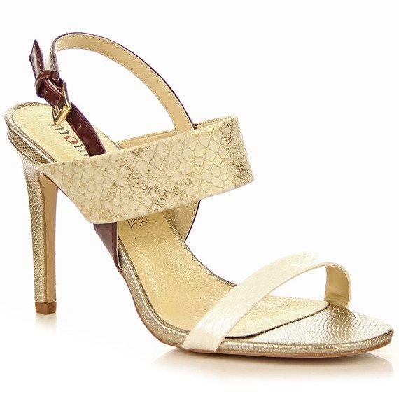 Beżowe sandały szpilki wężowe Monnari