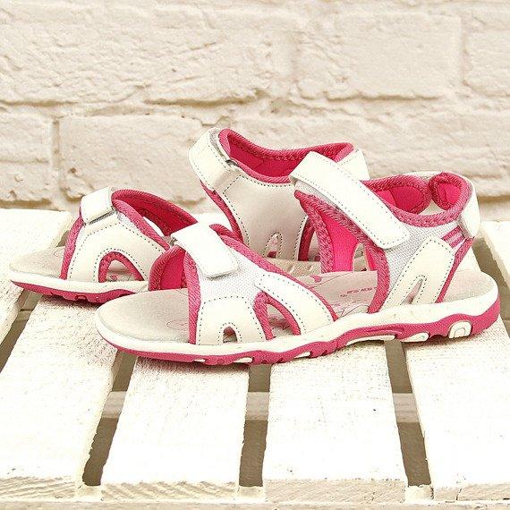Białe sandałki sportowe na rzepy Hasby