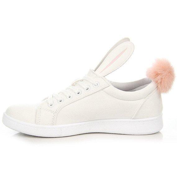 Białe trampki króliczki pompon bunny