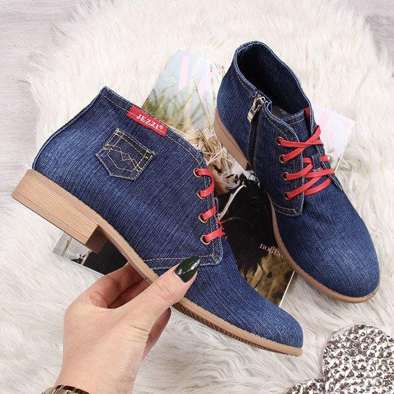 Botki damskie jeansowe granatowe Jezzi