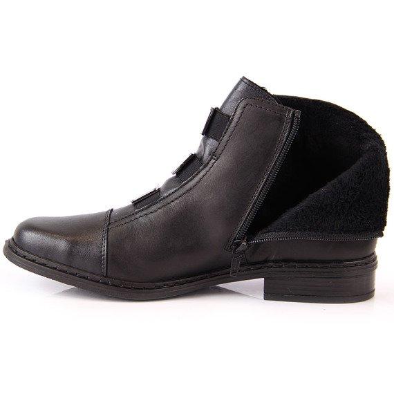 Botki damskie skórzane komfortowe czarne Rieker 72082-00