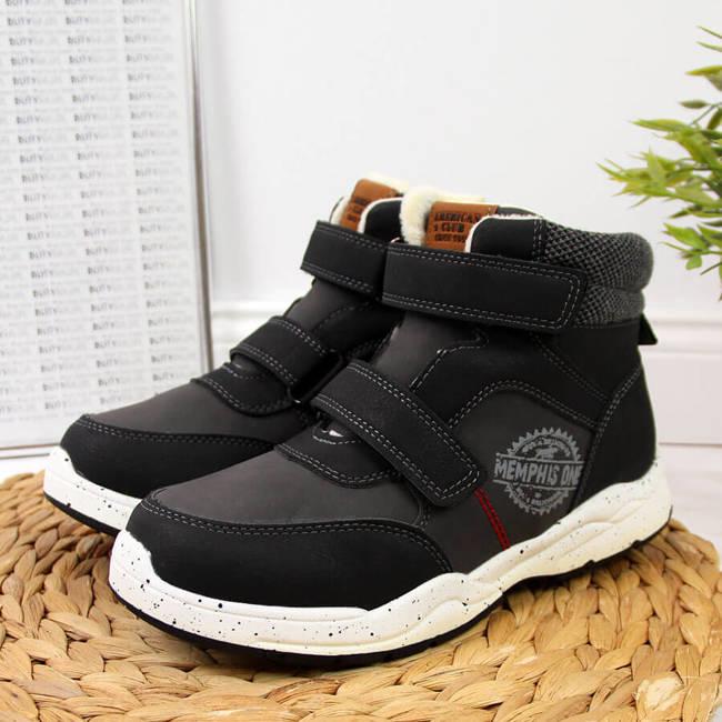 Buty chłopięce zimowe na rzepy czarne American Club
