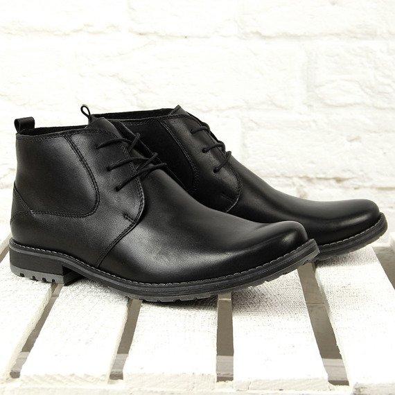 Buty męskie eleganckie skórzane ocieplane czarne Gregor