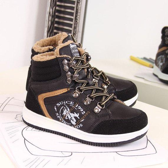 Buty sportowe chłopięce ocieplane czarne American Club