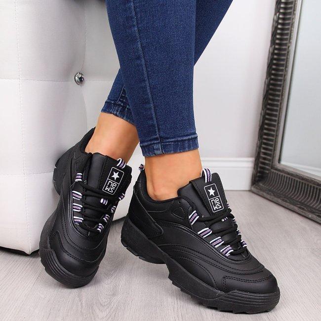 Buty sportowe damskie na grubej podeszwie czarne NEWS