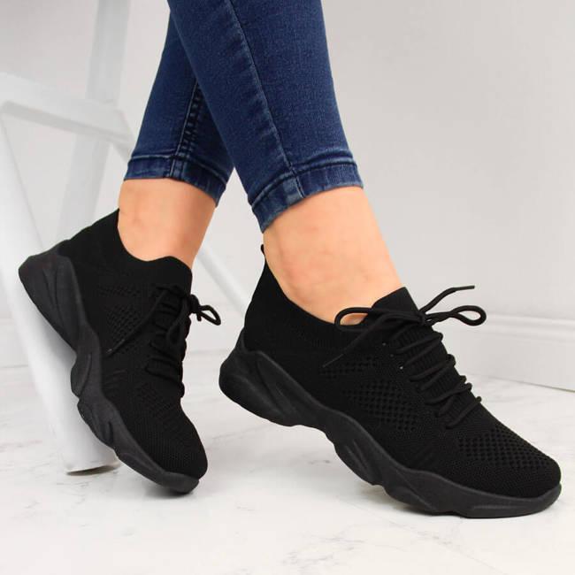 Buty sportowe damskie skarpetkowe czarne Filippo