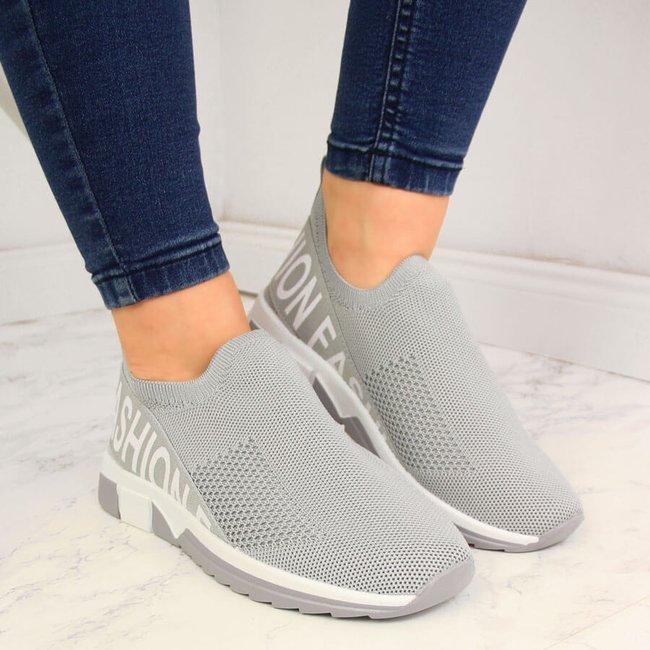 Buty sportowe damskie skarpetkowe slip on szare Filippo