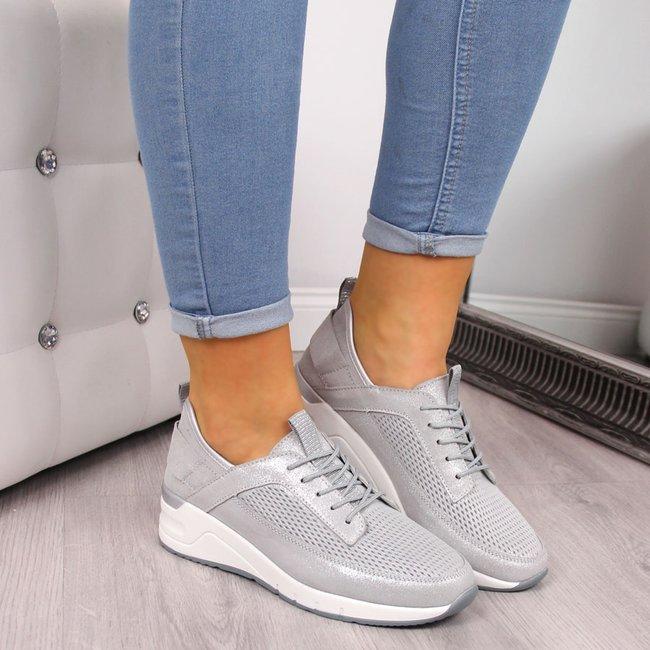 Buty sportowe damskie skórzane ażurowe srebrne Jezzi