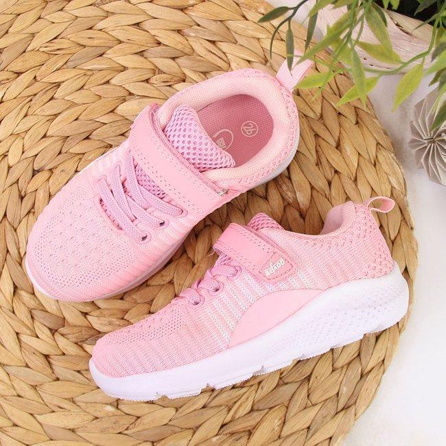 Buty sportowe dziecięce na rzep Befado różowe