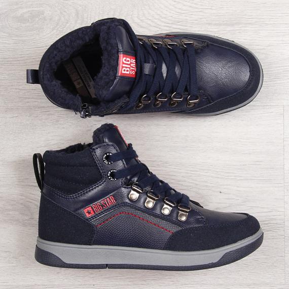 Buty sportowe dziecięce ocieplane granat Big Star EE374088