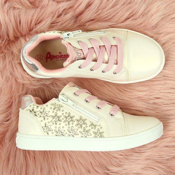 Buty sportowe dziewczęce białe perłowe American Club