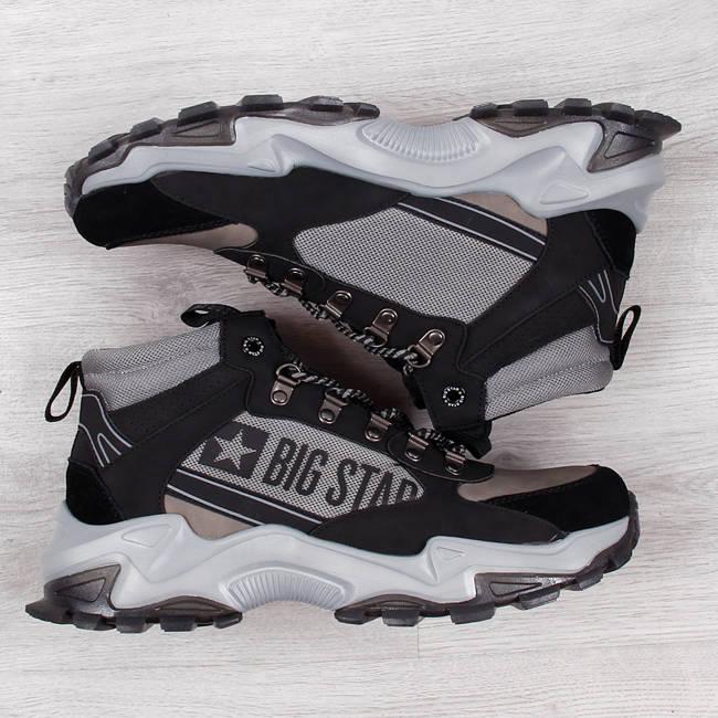 Buty sportowe męskie skóra wysokie szare Big Star II174203