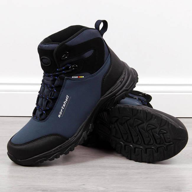 Buty trekkingowe męskie wodoodporne zimowe granatowe American Club