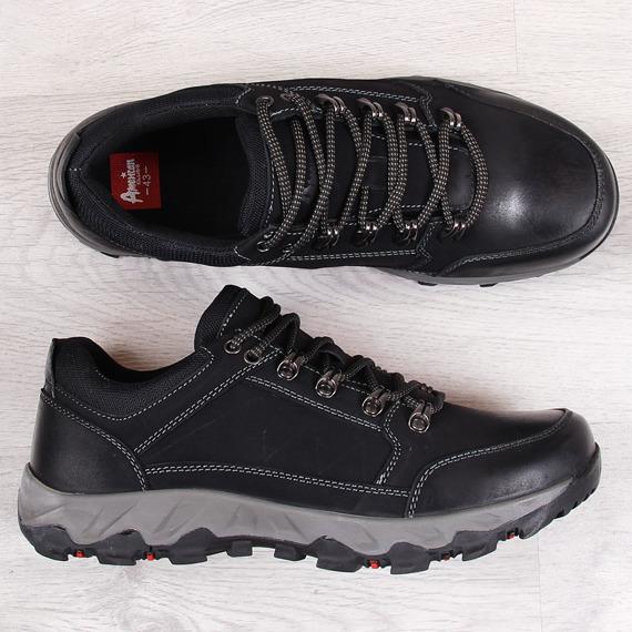 Buty trekkingowe skórzane męskie czarne American Club