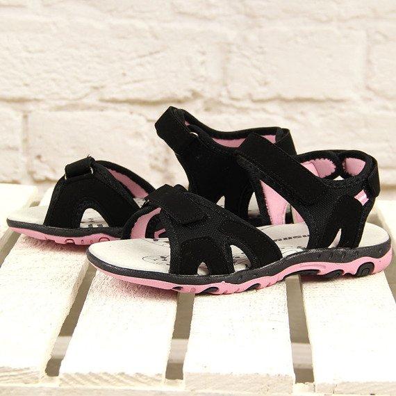 Czarne sandałki sportowe na rzepy Hasby