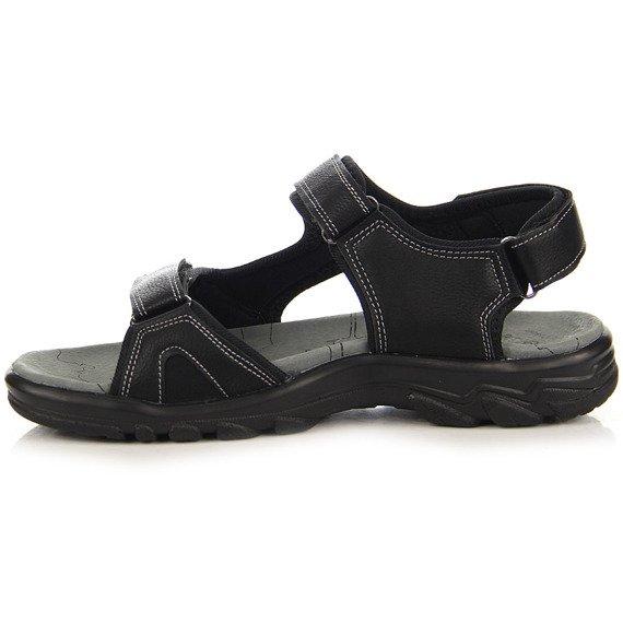 Czarne sandały męskie na rzepy Wishot
