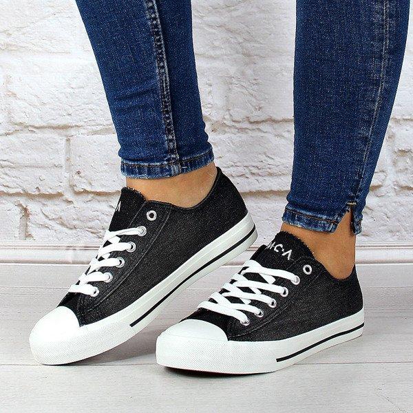 Czarne tenisówki jeansowe sznurowane przecierane McArthur