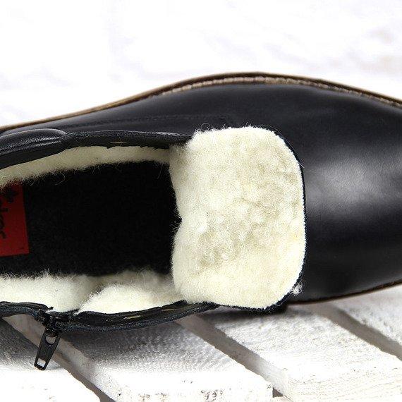 Czarne trzewiki męskie skórzane ocieplane Rieker 35332-00