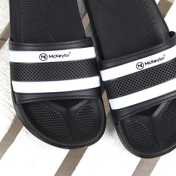 Czarno-białe klapki męskie basenowe McKeylor