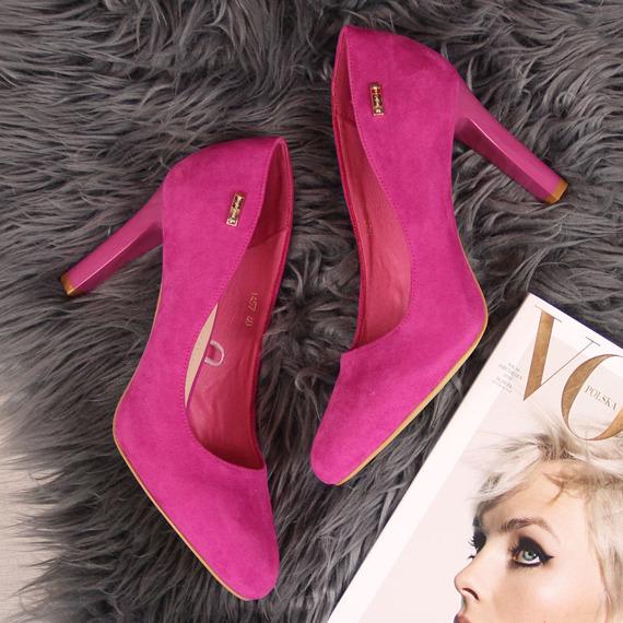 Czółenka damskie na słupku różowe Sergio Leone