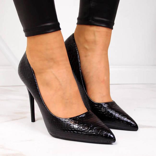 Czółenka na szpilce lakierowane kroko czarne Seastar