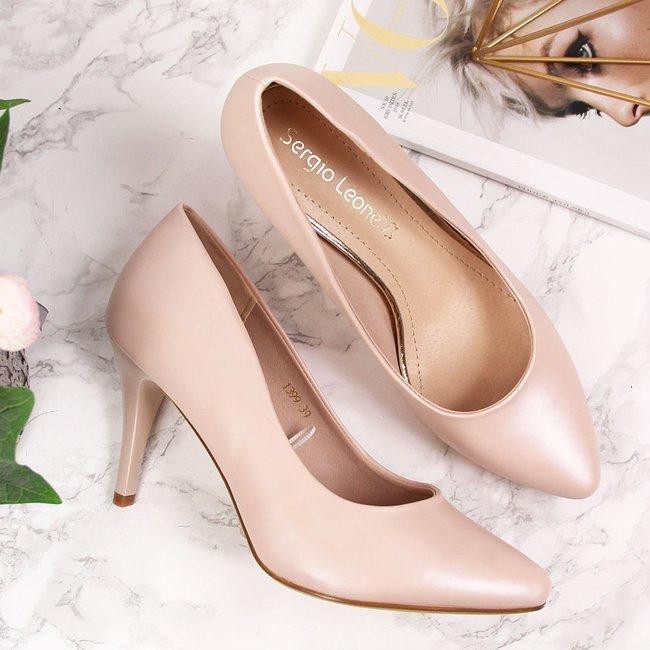 Czółenka na szpilce różowe perłowe Sergio Leone