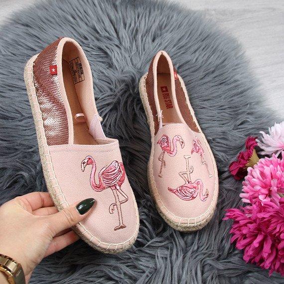 Espadryle damskie z flamingami różowe Big Star DD274A156