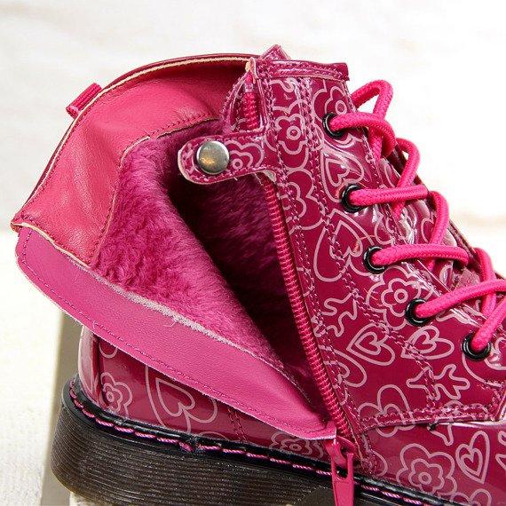 Glany dziewczęce ocieplane lakierowane American Club różowe