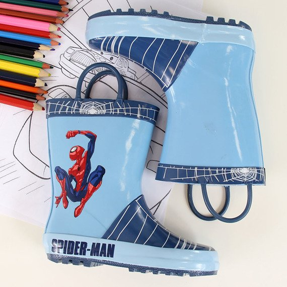 Kalosze chłopięce niebieskie Spiderman