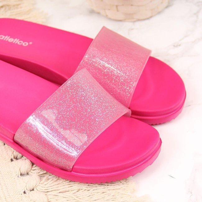 Klapki damskie basenowe z brokatem różowe Atletico