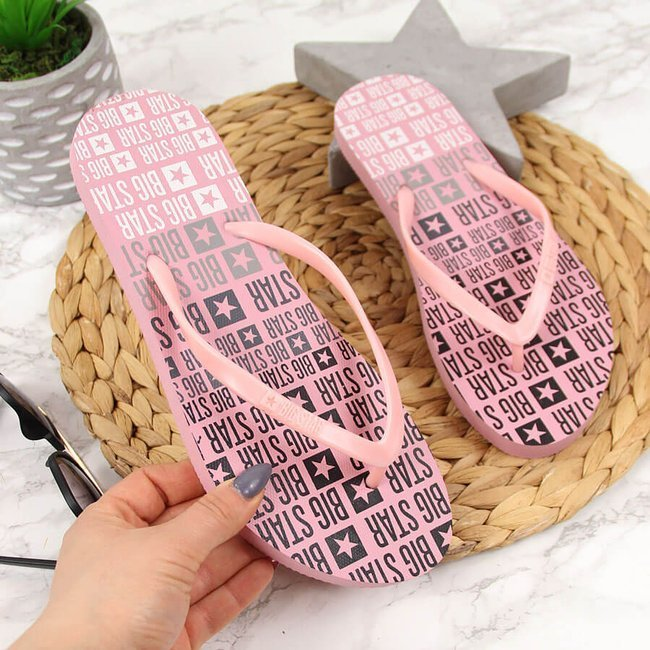 Klapki damskie japonki plażowe różowe Big Star FF274A304