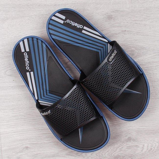 Klapki męskie basenowe czarno niebieskie Atletico