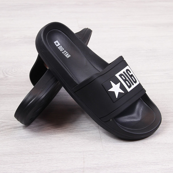 Klapki męskie plażowe gumowe czarne Big Star DD174699