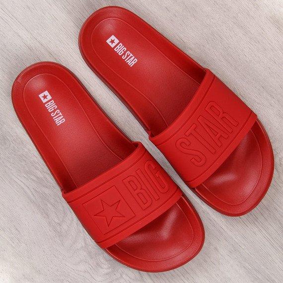 Klapki męskie plażowe gumowe czerwone Big Star DD174689
