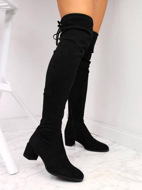 Kozaki damskie za kolano zamszowe czarne Sergio Leone