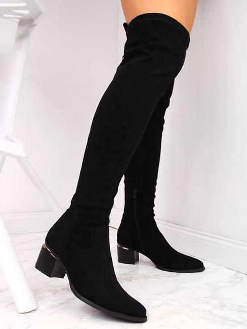 Kozaki damskie za kolano zamszowe czarne eVento