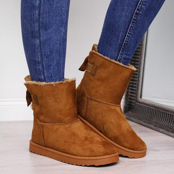 Mukluki damskie ocieplane brązowe Cross Jeans