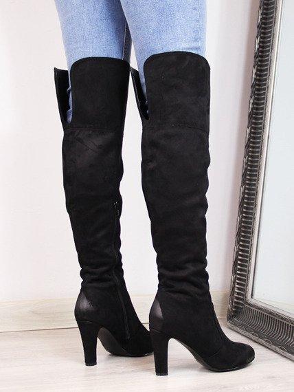 Muszkieterki damskie za kolano ocieplane czarne Vinceza