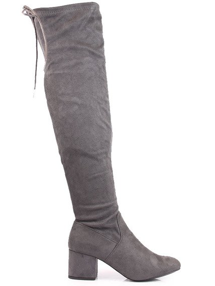 Muszkieterki damskie za kolano szare Wishot