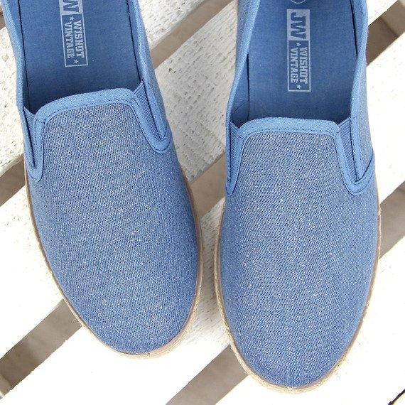 Niebieskie jeansowe tenisówki espadryle połyskujące Wishot