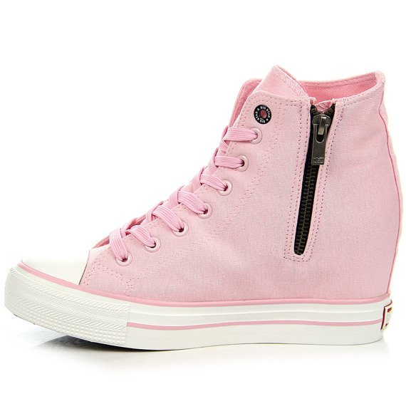 Różowe trampki damskie na koturnie Big Star W274661